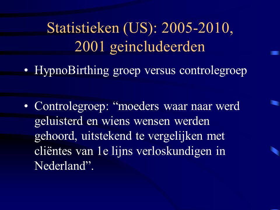 Statistieken (US): 2005-2010, 2001 geincludeerden HypnoBirthing groep versus controlegroep Controlegroep: moeders waar naar werd geluisterd en wiens wensen werden gehoord, uitstekend te vergelijken met cliëntes van 1e lijns verloskundigen in Nederland .