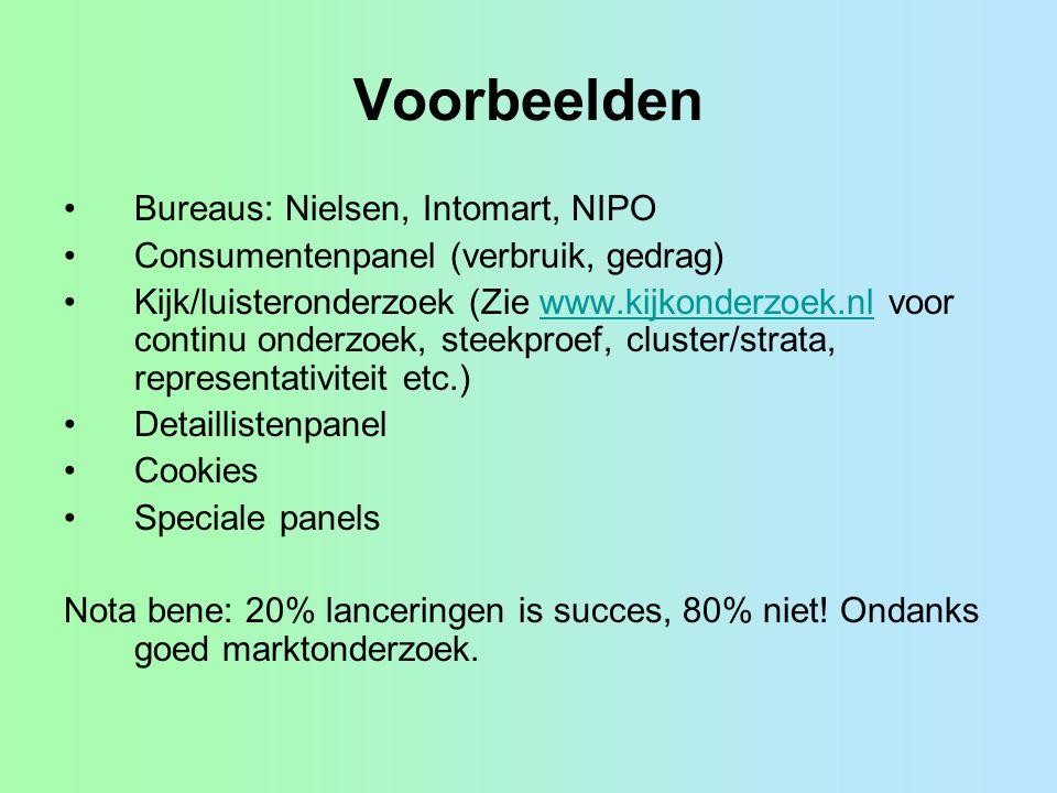 Voorbeelden Bureaus: Nielsen, Intomart, NIPO Consumentenpanel (verbruik, gedrag) Kijk/luisteronderzoek (Zie www.kijkonderzoek.nl voor continu onderzoe