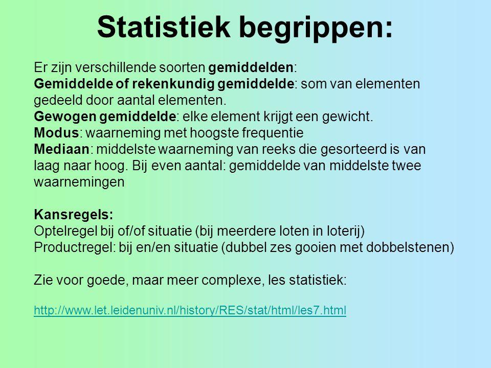 Statistiek begrippen: Er zijn verschillende soorten gemiddelden: Gemiddelde of rekenkundig gemiddelde: som van elementen gedeeld door aantal elementen