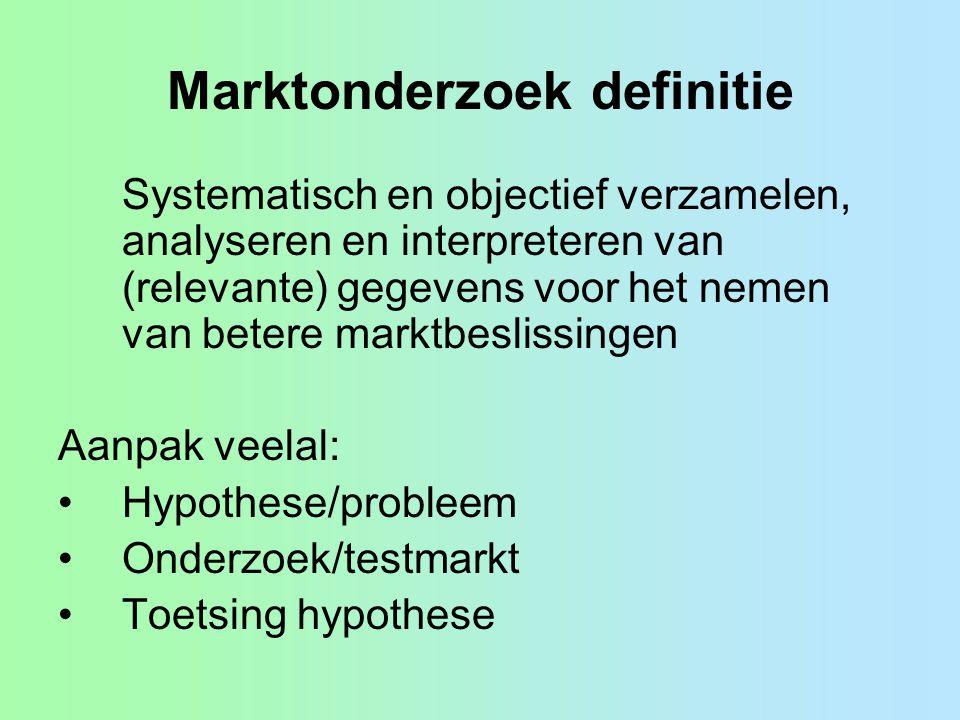 Marktonderzoek definitie Systematisch en objectief verzamelen, analyseren en interpreteren van (relevante) gegevens voor het nemen van betere marktbes