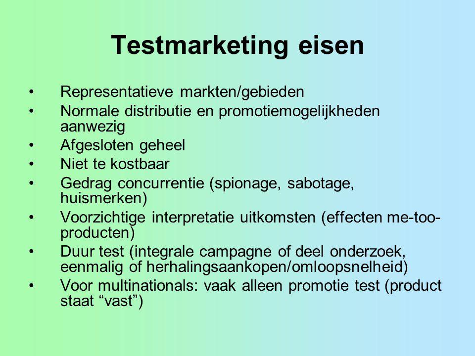 Testmarketing eisen Representatieve markten/gebieden Normale distributie en promotiemogelijkheden aanwezig Afgesloten geheel Niet te kostbaar Gedrag c