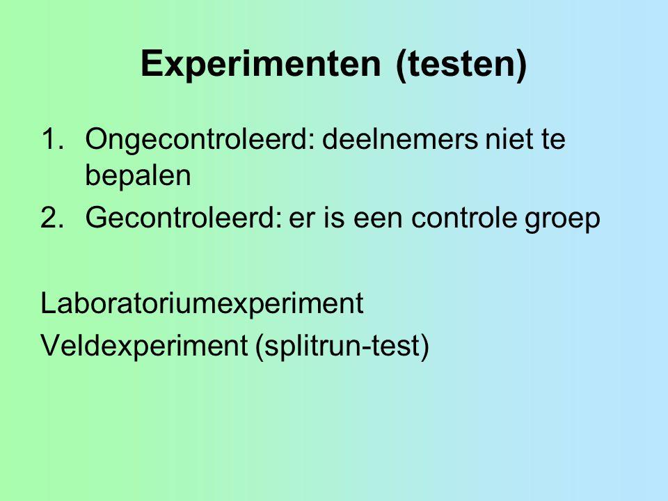 Experimenten (testen) 1.Ongecontroleerd: deelnemers niet te bepalen 2.Gecontroleerd: er is een controle groep Laboratoriumexperiment Veldexperiment (s