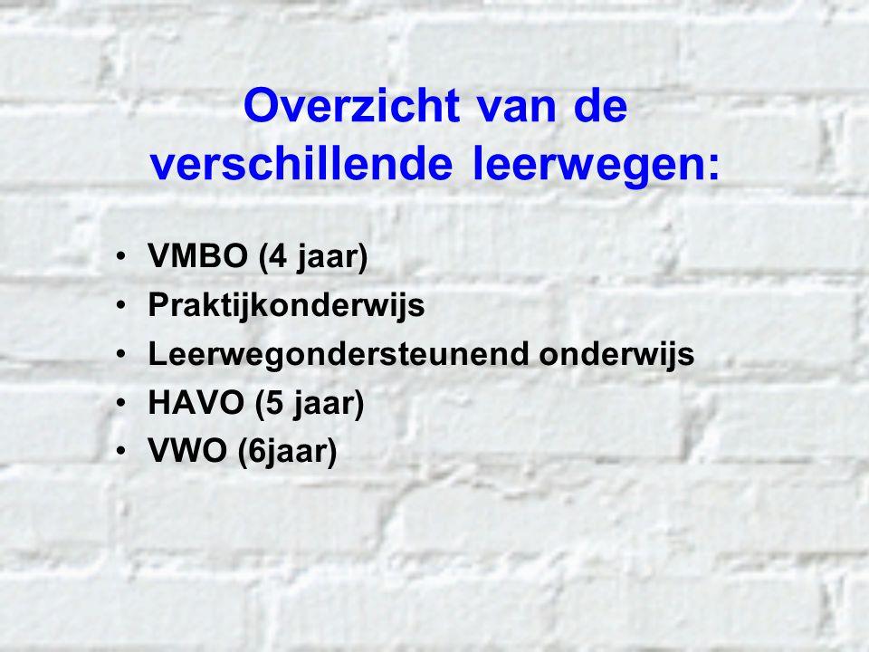 Overzicht van de verschillende leerwegen: VMBO (4 jaar) Praktijkonderwijs Leerwegondersteunend onderwijs HAVO (5 jaar) VWO (6jaar)