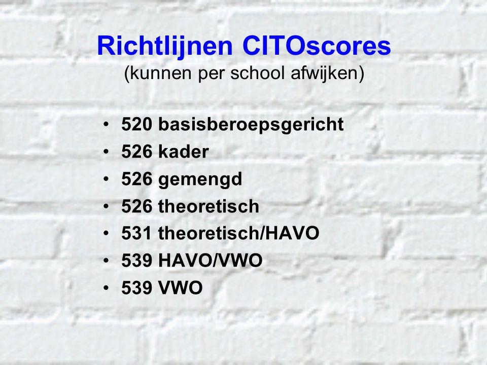 Richtlijnen CITOscores (kunnen per school afwijken) 520 basisberoepsgericht 526 kader 526 gemengd 526 theoretisch 531 theoretisch/HAVO 539 HAVO/VWO 53