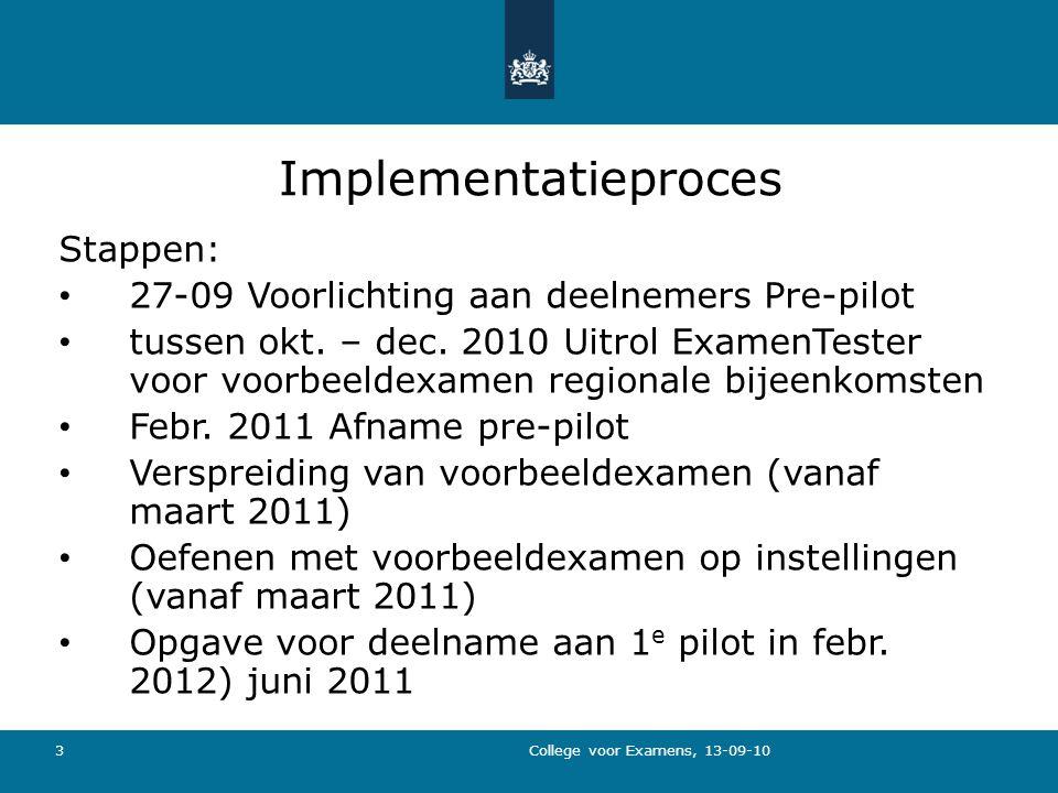 3 Implementatieproces Stappen: 27-09 Voorlichting aan deelnemers Pre-pilot tussen okt.