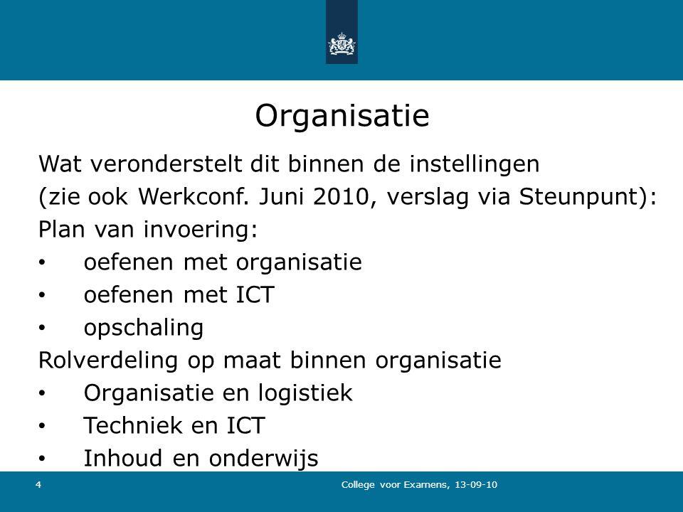 4 Organisatie Wat veronderstelt dit binnen de instellingen (zie ook Werkconf.