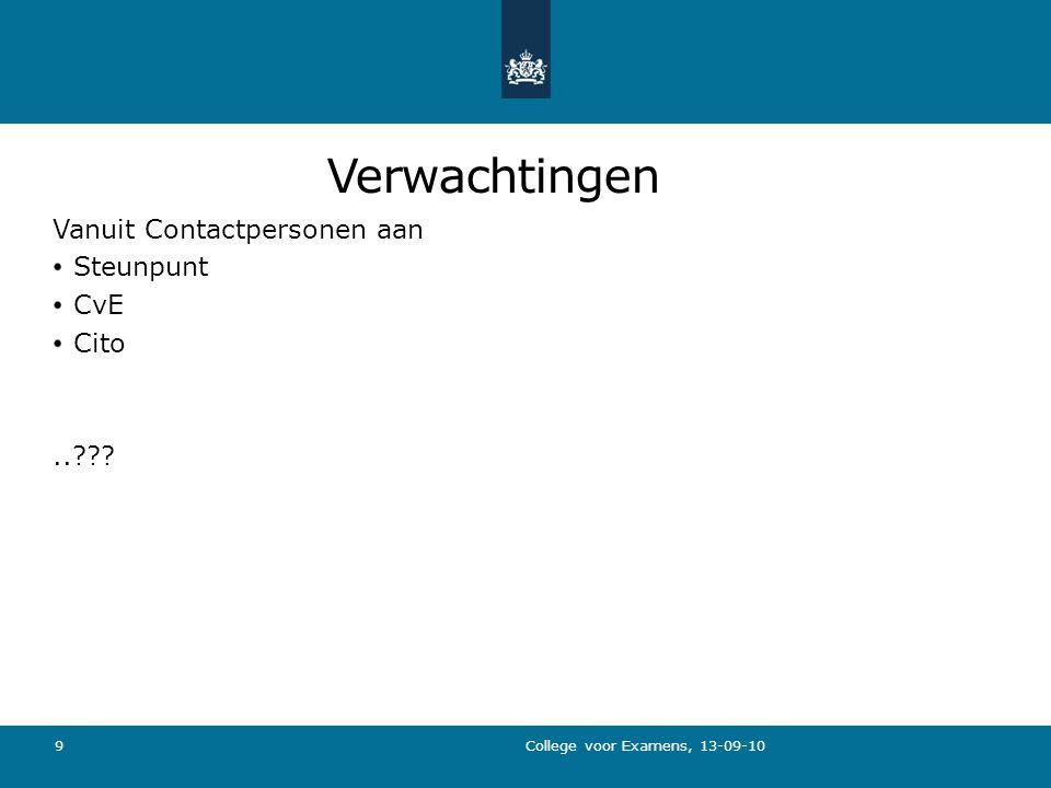 Verwachtingen Vanuit Contactpersonen aan Steunpunt CvE Cito.. College voor Examens, 13-09-10 9