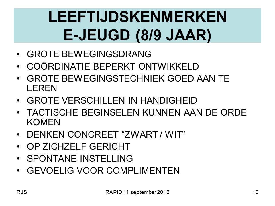 RJSRAPID 11 september 201310 LEEFTIJDSKENMERKEN E-JEUGD (8/9 JAAR) GROTE BEWEGINGSDRANG COÖRDINATIE BEPERKT ONTWIKKELD GROTE BEWEGINGSTECHNIEK GOED AA