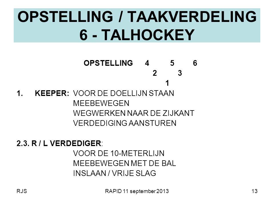 RJSRAPID 11 september 201313 OPSTELLING / TAAKVERDELING 6 - TALHOCKEY OPSTELLING 4 5 6 2 3 1 1.KEEPER: VOOR DE DOELLIJN STAAN MEEBEWEGEN WEGWERKEN NAA