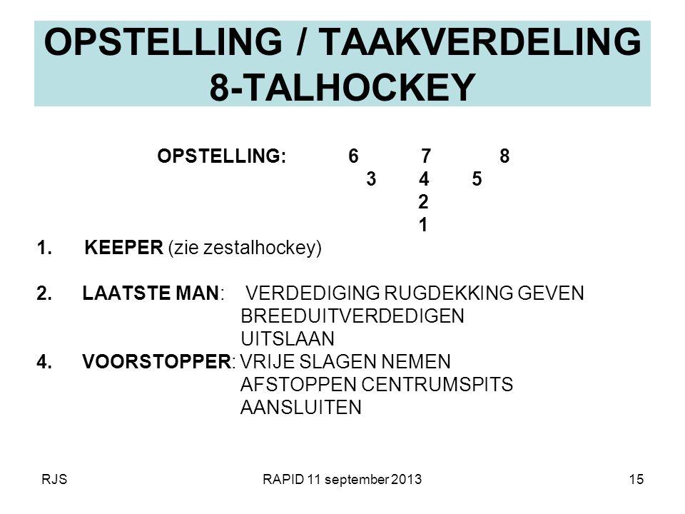RJSRAPID 11 september 201315 OPSTELLING / TAAKVERDELING 8-TALHOCKEY OPSTELLING: 6 7 8 3 4 5 2 1 1. KEEPER (zie zestalhockey) 2.LAATSTE MAN: VERDEDIGIN