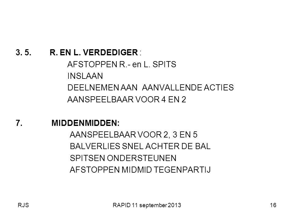 RJSRAPID 11 september 201316 3. 5. R. EN L. VERDEDIGER : AFSTOPPEN R.- en L. SPITS INSLAAN DEELNEMEN AAN AANVALLENDE ACTIES AANSPEELBAAR VOOR 4 EN 2 7