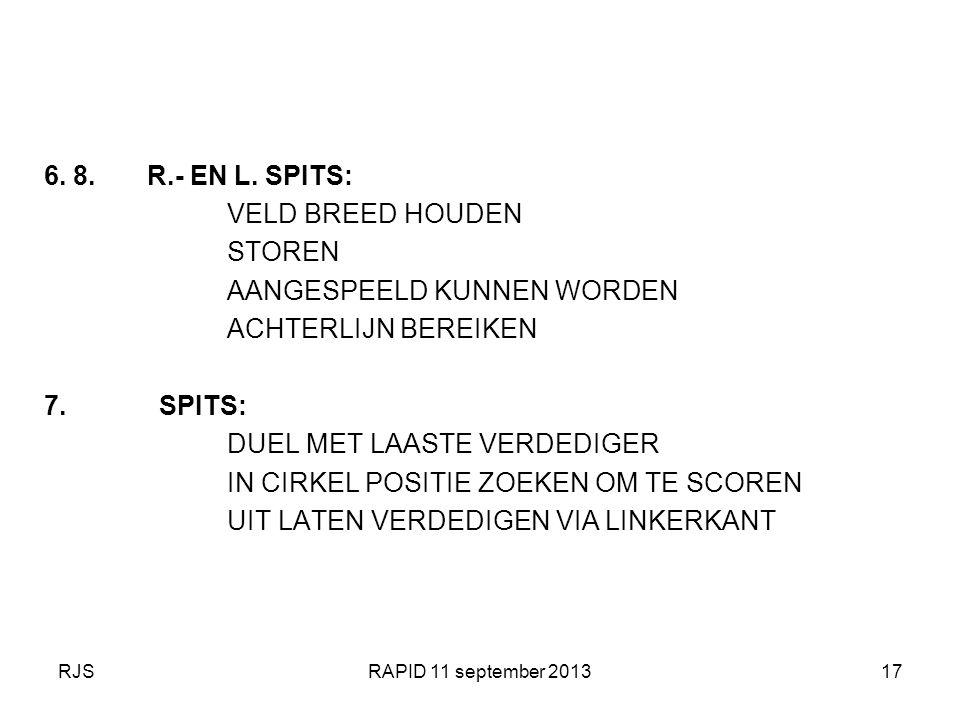 RJSRAPID 11 september 201317 6. 8. R.- EN L. SPITS: VELD BREED HOUDEN STOREN AANGESPEELD KUNNEN WORDEN ACHTERLIJN BEREIKEN 7. SPITS: DUEL MET LAASTE V