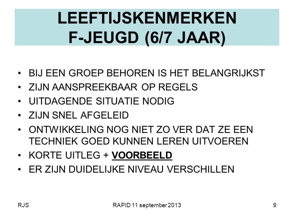 RJSRAPID 11 september 20139 LEEFTIJSKENMERKEN F-JEUGD (6/7 JAAR) BIJ EEN GROEP BEHOREN IS HET BELANGRIJKST ZIJN AANSPREEKBAAR OP REGELS UITDAGENDE SIT