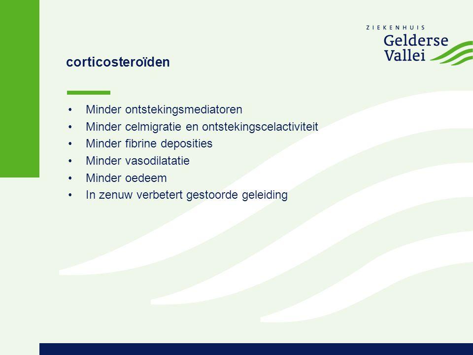 corticosteroïden Minder ontstekingsmediatoren Minder celmigratie en ontstekingscelactiviteit Minder fibrine deposities Minder vasodilatatie Minder oed
