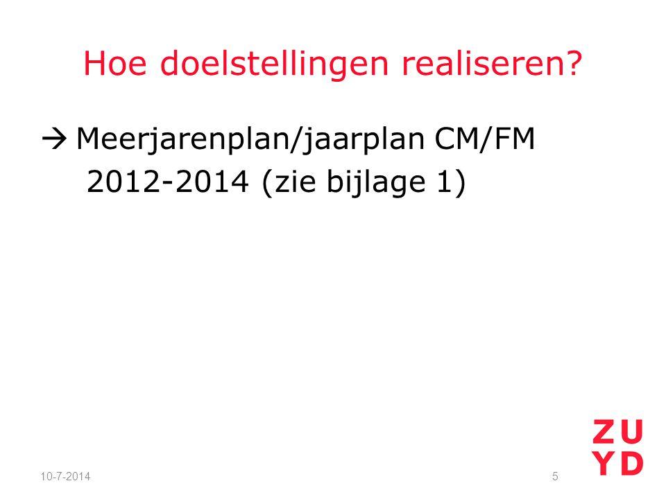Hoe doelstellingen realiseren  Meerjarenplan/jaarplan CM/FM 2012-2014 (zie bijlage 1) 10-7-20145