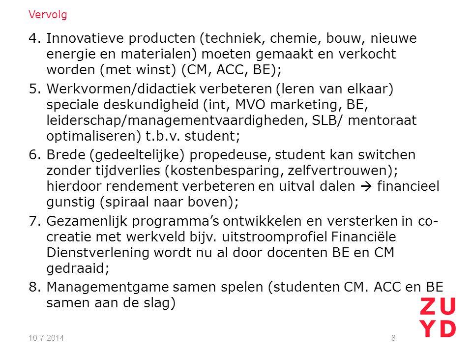 4. Innovatieve producten (techniek, chemie, bouw, nieuwe energie en materialen) moeten gemaakt en verkocht worden (met winst) (CM, ACC, BE); 5. Werkvo