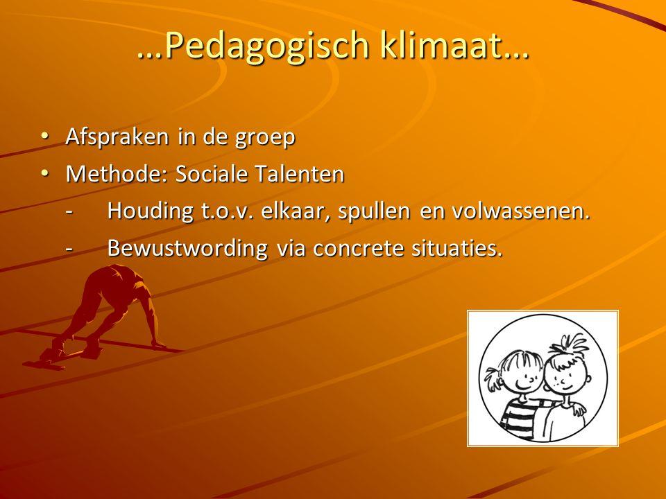 …Pedagogisch klimaat… Afspraken in de groep Afspraken in de groep Methode: Sociale Talenten Methode: Sociale Talenten -Houding t.o.v.