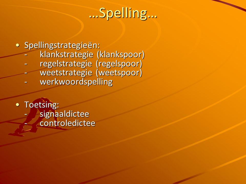 …Spelling… Spellingstrategieën: -klankstrategie (klankspoor) -regelstrategie (regelspoor) - weetstrategie (weetspoor) -werkwoordspellingSpellingstrategieën: -klankstrategie (klankspoor) -regelstrategie (regelspoor) - weetstrategie (weetspoor) -werkwoordspelling Toetsing: - signaaldictee -controledicteeToetsing: - signaaldictee -controledictee