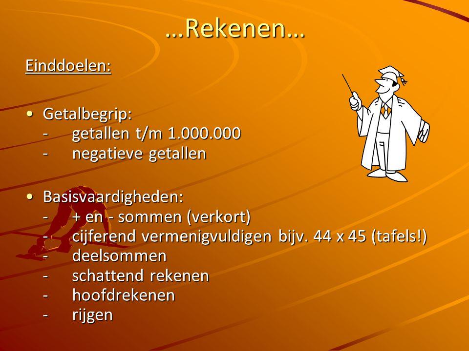 …Rekenen… Einddoelen: Getalbegrip: - getallen t/m 1.000.000 - negatieve getallenGetalbegrip: - getallen t/m 1.000.000 - negatieve getallen Basisvaardigheden: -+ en - sommen (verkort) - cijferend vermenigvuldigen bijv.