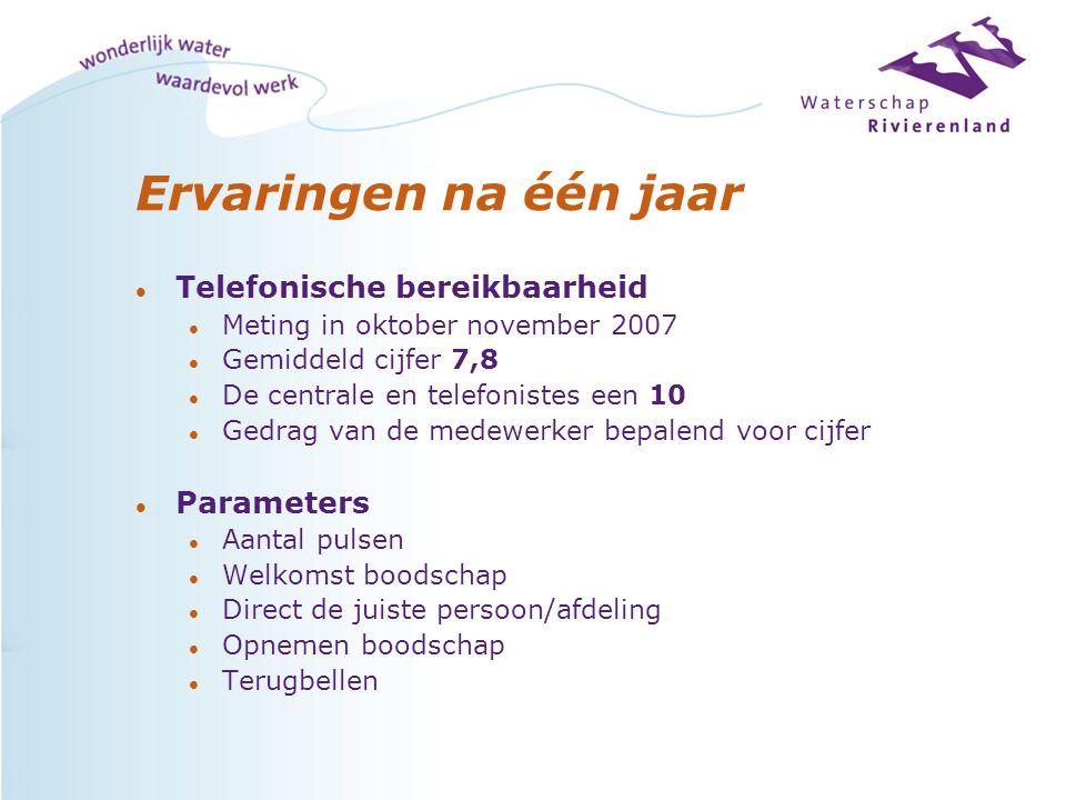 Ervaringen na één jaar l Telefonische bereikbaarheid l Meting in oktober november 2007 l Gemiddeld cijfer 7,8 l De centrale en telefonistes een 10 l G
