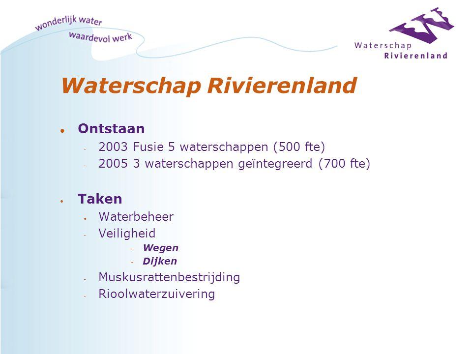 Waterschap Rivierenland l Ontstaan - 2003 Fusie 5 waterschappen (500 fte) - 2005 3 waterschappen geïntegreerd (700 fte) Taken Waterbeheer - Veiligheid