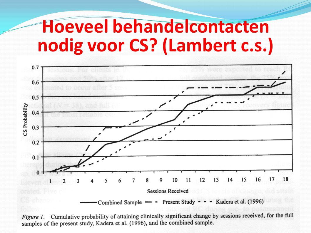 Hoeveel behandelcontacten nodig voor CS? (Lambert c.s.)