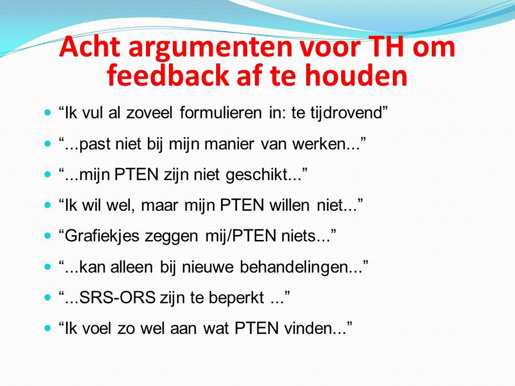 Acht argumenten voor TH om feedback af te houden Ik vul al zoveel formulieren in: te tijdrovend ...past niet bij mijn manier van werken... ...mijn PTEN zijn niet geschikt... Ik wil wel, maar mijn PTEN willen niet... Grafiekjes zeggen mij/PTEN niets... ...kan alleen bij nieuwe behandelingen... ...SRS-ORS zijn te beperkt... Ik voel zo wel aan wat PTEN vinden...