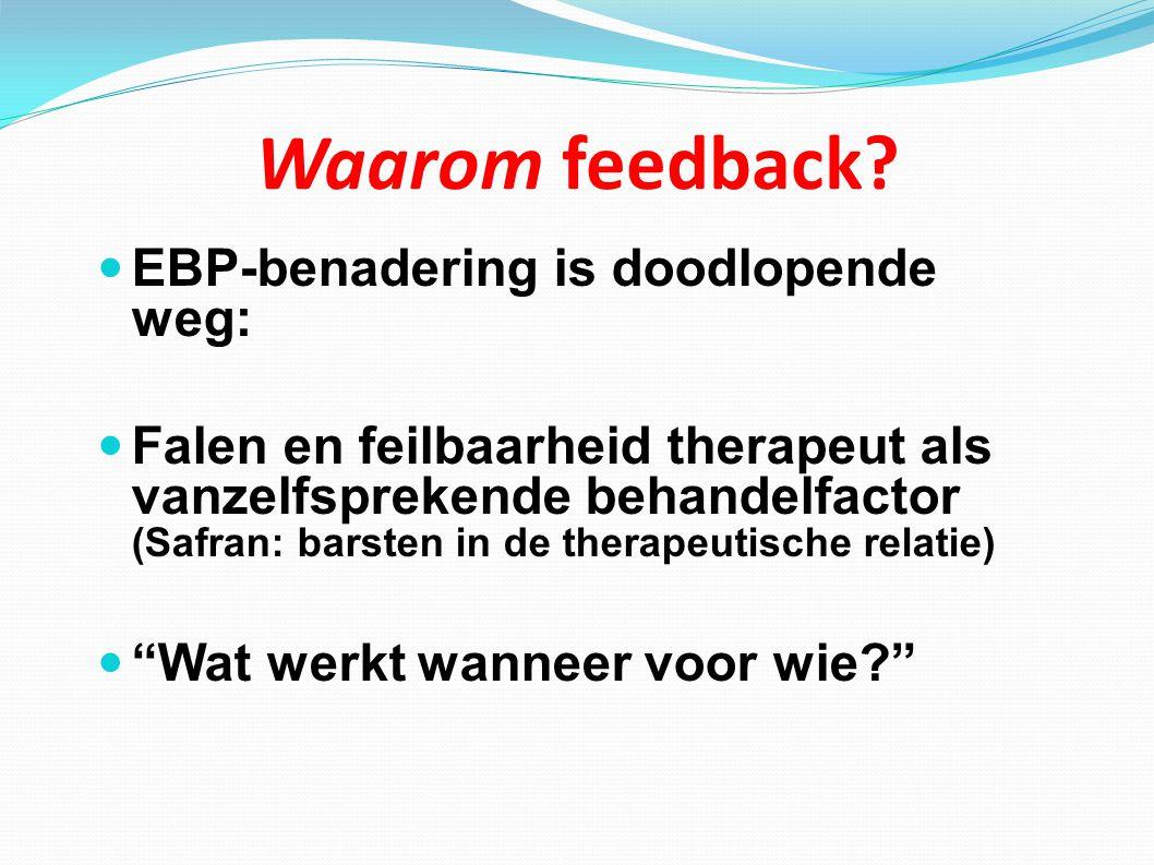 Waarom feedback? EBP-benadering is doodlopende weg: Falen en feilbaarheid therapeut als vanzelfsprekende behandelfactor (Safran: barsten in de therape
