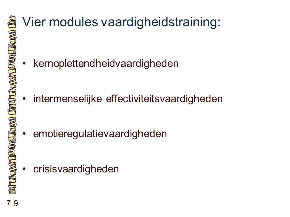 Vier modules vaardigheidstraining: 7-9 kernoplettendheidvaardigheden intermenselijke effectiviteitsvaardigheden emotieregulatievaardigheden crisisvaar