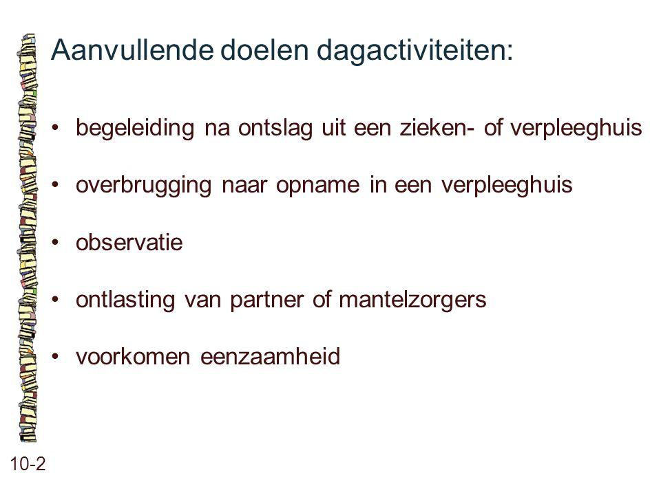Aanvullende doelen dagactiviteiten: 10-2 begeleiding na ontslag uit een zieken- of verpleeghuis overbrugging naar opname in een verpleeghuis observati