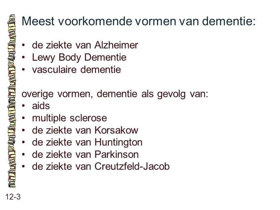 Meest voorkomende vormen van dementie: 12-3 de ziekte van Alzheimer Lewy Body Dementie vasculaire dementie overige vormen, dementie als gevolg van: ai