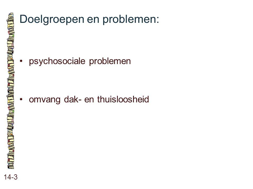 Doelgroepen en problemen: 14-3 psychosociale problemen omvang dak- en thuisloosheid