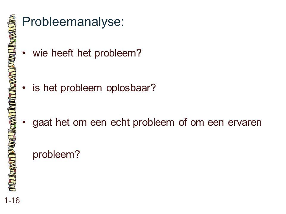 Probleemanalyse: 1-16 wie heeft het probleem? is het probleem oplosbaar? gaat het om een echt probleem of om een ervaren probleem?