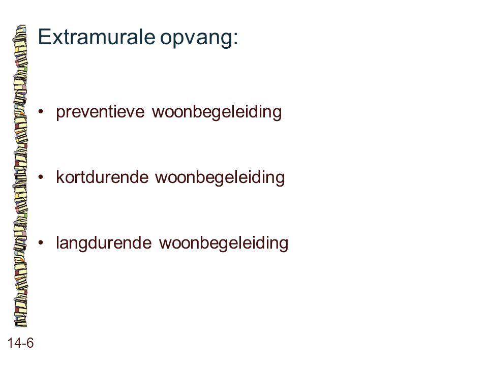 Extramurale opvang: 14-6 preventieve woonbegeleiding kortdurende woonbegeleiding langdurende woonbegeleiding