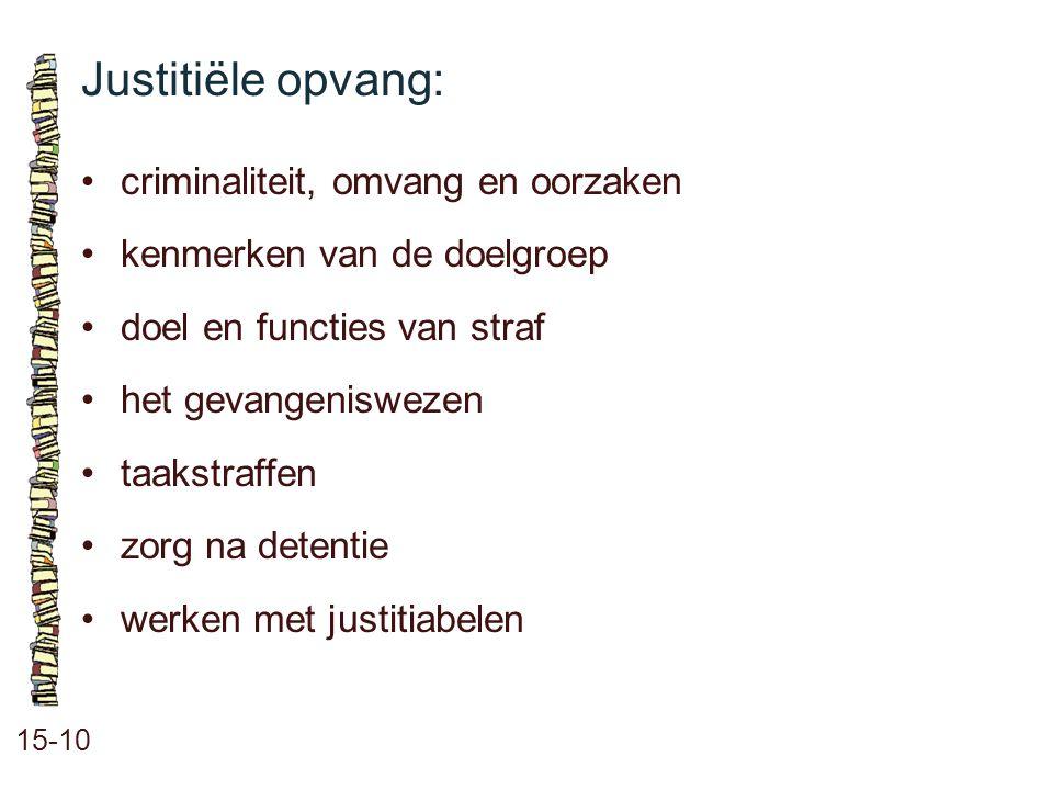 Justitiële opvang: 15-10 criminaliteit, omvang en oorzaken kenmerken van de doelgroep doel en functies van straf het gevangeniswezen taakstraffen zorg