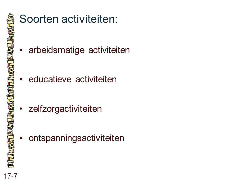 Soorten activiteiten: 17-7 arbeidsmatige activiteiten educatieve activiteiten zelfzorgactiviteiten ontspanningsactiviteiten