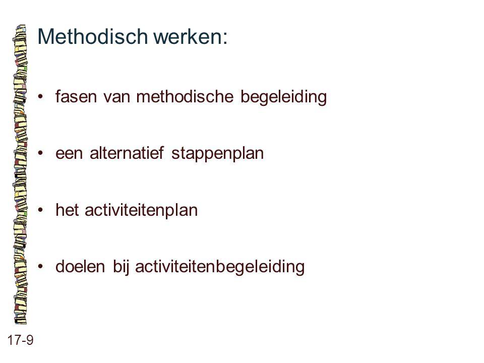Het 5-stappenplan voor methodisch begeleiden: 17-10 stap 1: beginsituatie vaststellen stap 2: doelen stellen stap 3: strategie bepalen stap 4: plan uitvoeren stap 5: evalueren