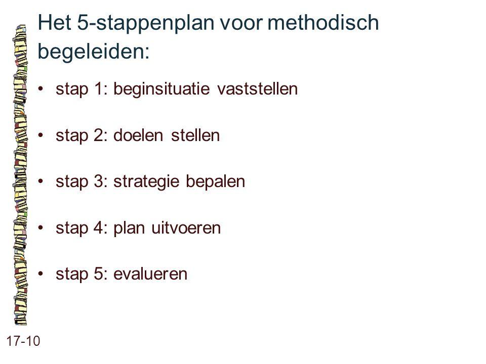 Het 5-stappenplan voor methodisch begeleiden: 17-10 stap 1: beginsituatie vaststellen stap 2: doelen stellen stap 3: strategie bepalen stap 4: plan ui