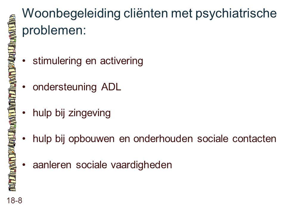Woonbegeleiding cliënten met psychiatrische problemen: 18-8 stimulering en activering ondersteuning ADL hulp bij zingeving hulp bij opbouwen en onderh