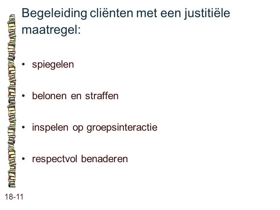 Begeleiding cliënten met een justitiële maatregel: 18-11 spiegelen belonen en straffen inspelen op groepsinteractie respectvol benaderen