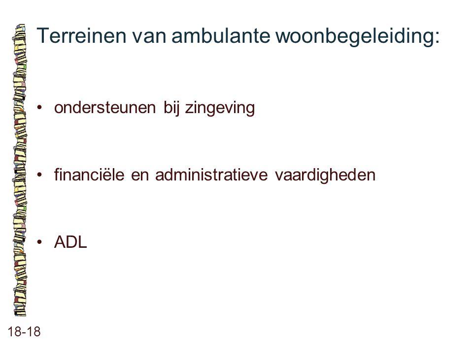 Terreinen van ambulante woonbegeleiding: 18-18 ondersteunen bij zingeving financiële en administratieve vaardigheden ADL