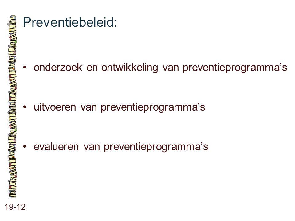 Preventiebeleid: 19-12 onderzoek en ontwikkeling van preventieprogramma's uitvoeren van preventieprogramma's evalueren van preventieprogramma's