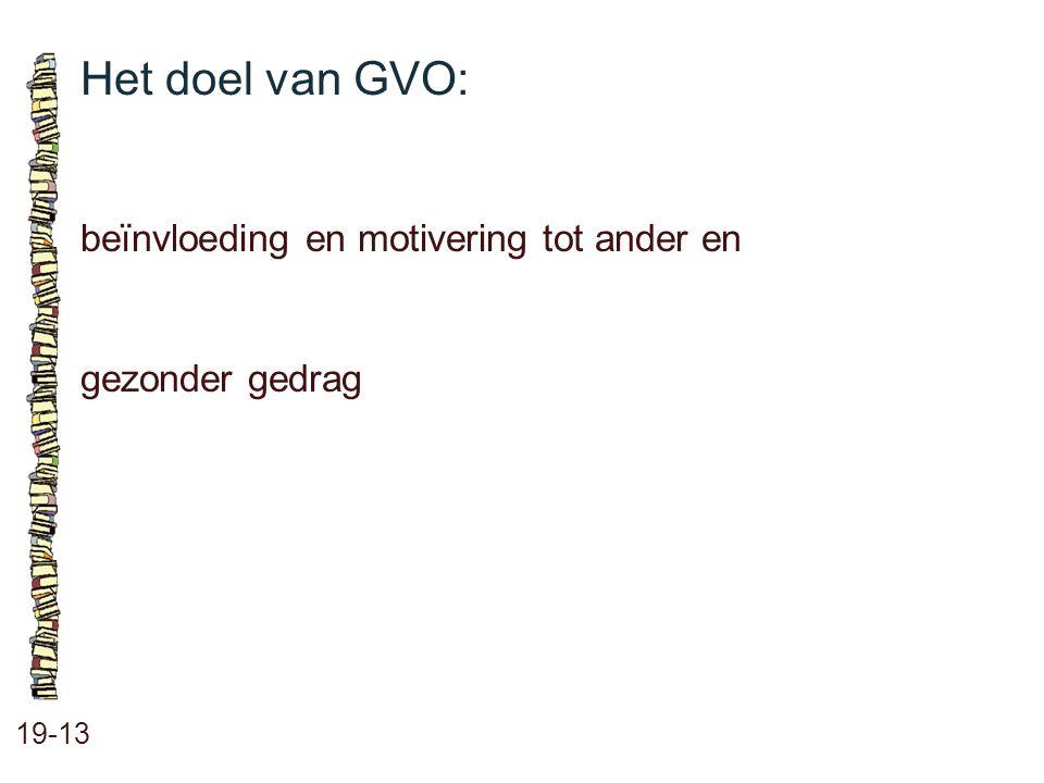 Het doel van GVO: 19-13 beïnvloeding en motivering tot ander en gezonder gedrag