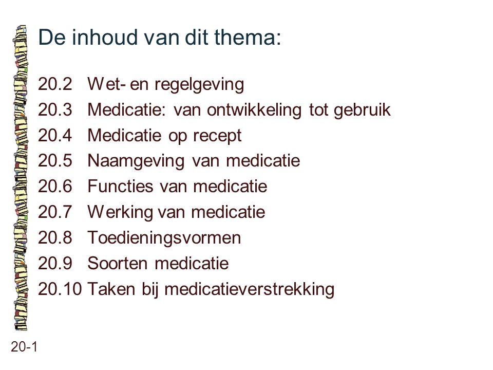 De inhoud van dit thema: 20-1 20.2 Wet- en regelgeving 20.3 Medicatie: van ontwikkeling tot gebruik 20.4 Medicatie op recept 20.5 Naamgeving van medic