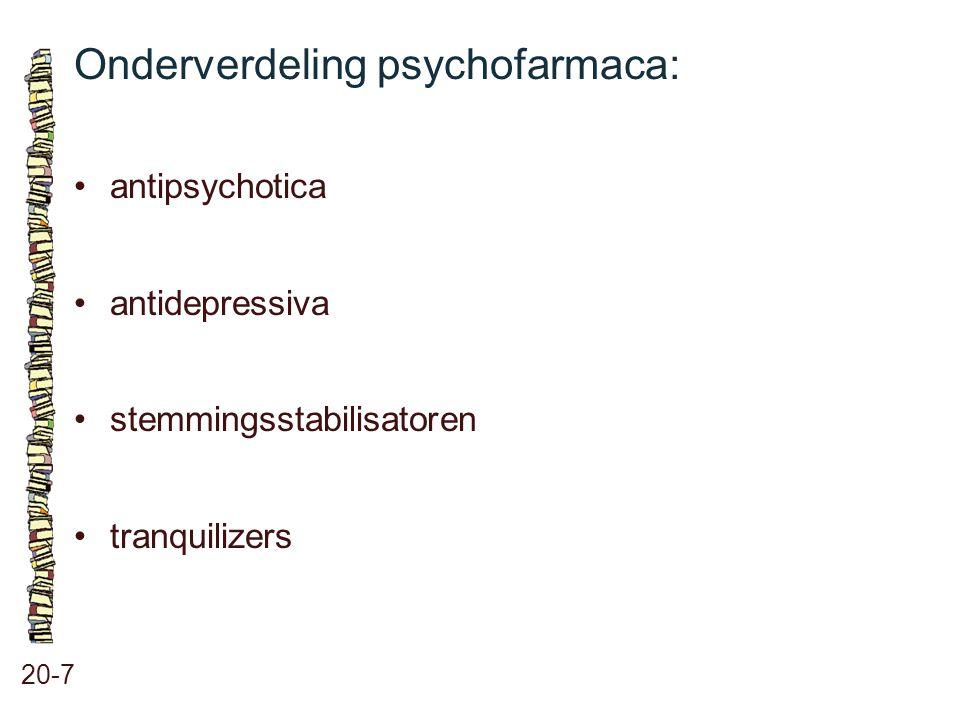 Onderverdeling psychofarmaca: 20-7 antipsychotica antidepressiva stemmingsstabilisatoren tranquilizers