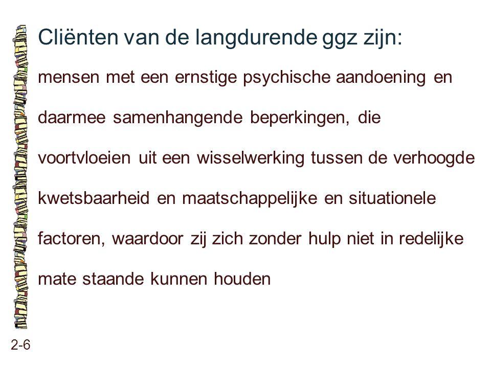 Cliënten van de langdurende ggz zijn: 2-6 mensen met een ernstige psychische aandoening en daarmee samenhangende beperkingen, die voortvloeien uit een