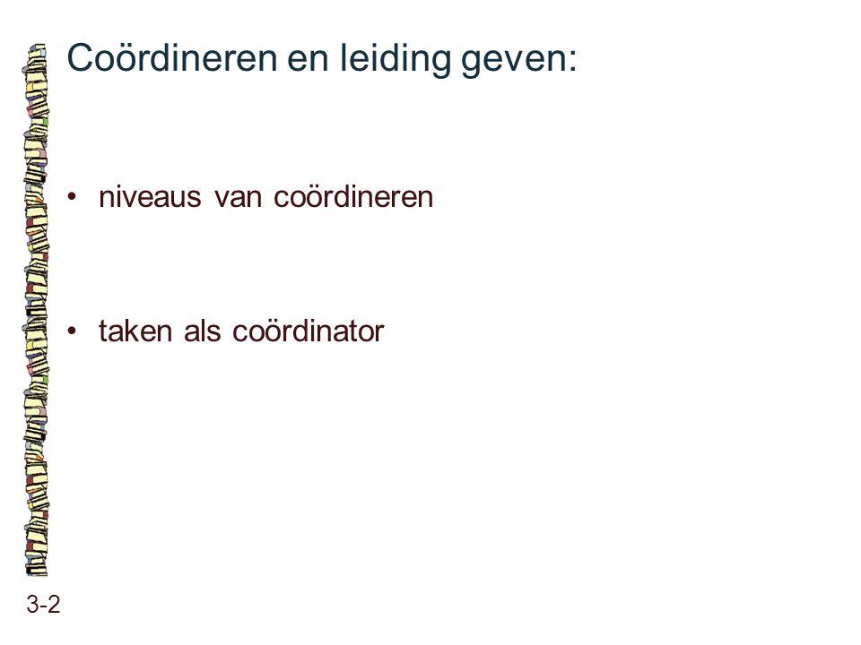 Coördineren en leiding geven: 3-2 niveaus van coördineren taken als coördinator