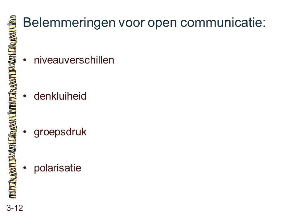 Belemmeringen voor open communicatie: 3-12 niveauverschillen denkluiheid groepsdruk polarisatie
