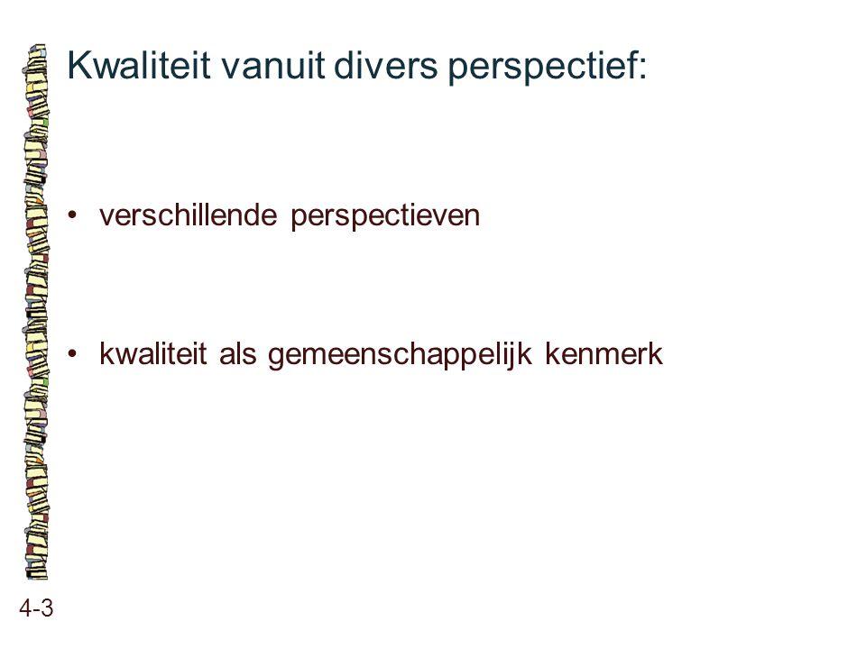 Kwaliteit vanuit divers perspectief: 4-3 verschillende perspectieven kwaliteit als gemeenschappelijk kenmerk