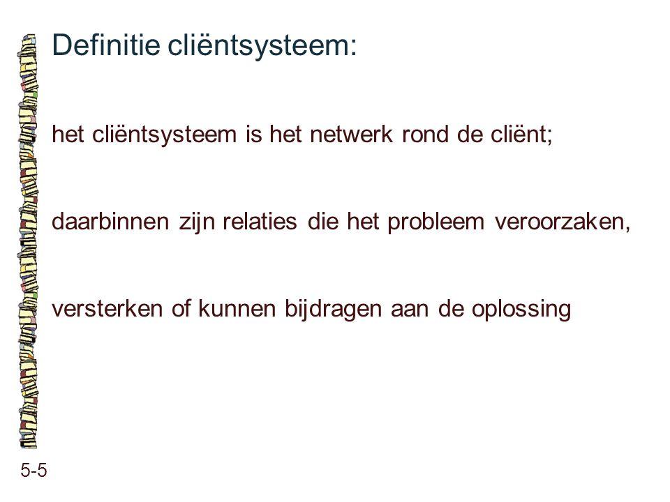 Definitie cliëntsysteem: 5-5 het cliëntsysteem is het netwerk rond de cliënt; daarbinnen zijn relaties die het probleem veroorzaken, versterken of kun